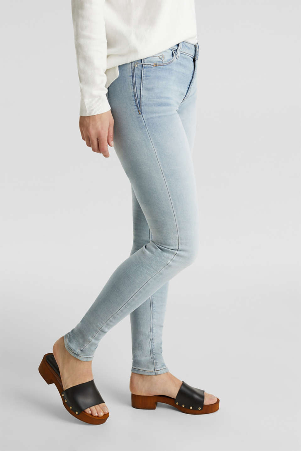 Esprit - Skinny jeans made of tracksuit fabric