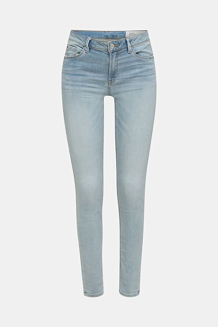 Skinny jeans made of tracksuit fabric, BLUE BLEACHED, detail image number 6