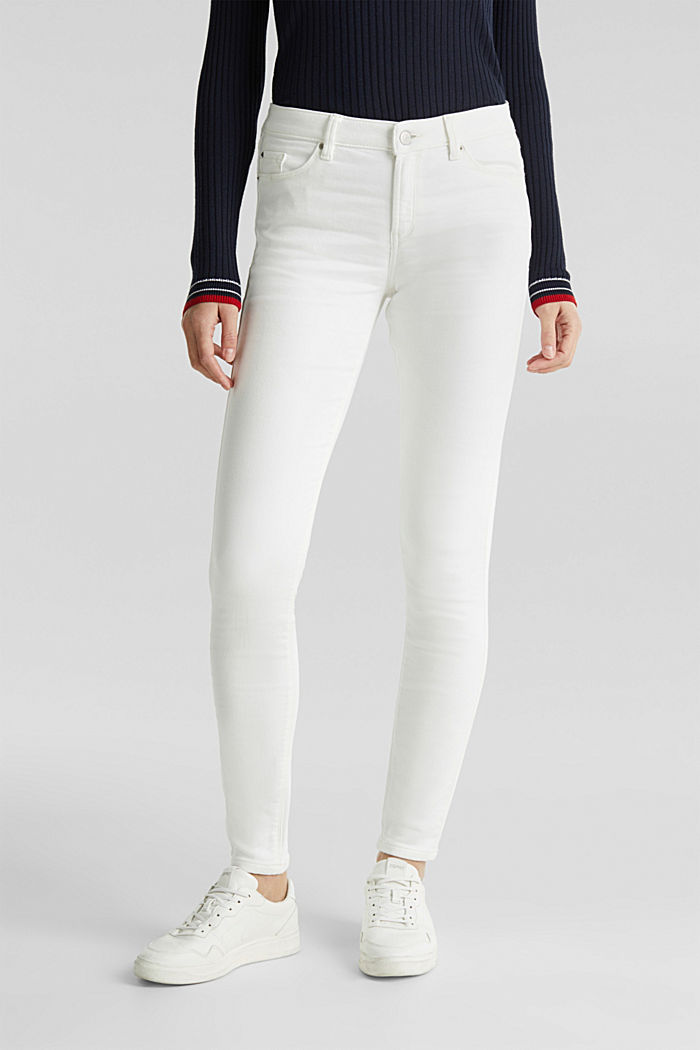 Jeans in comfy tracksuit fabric, WHITE, detail image number 6