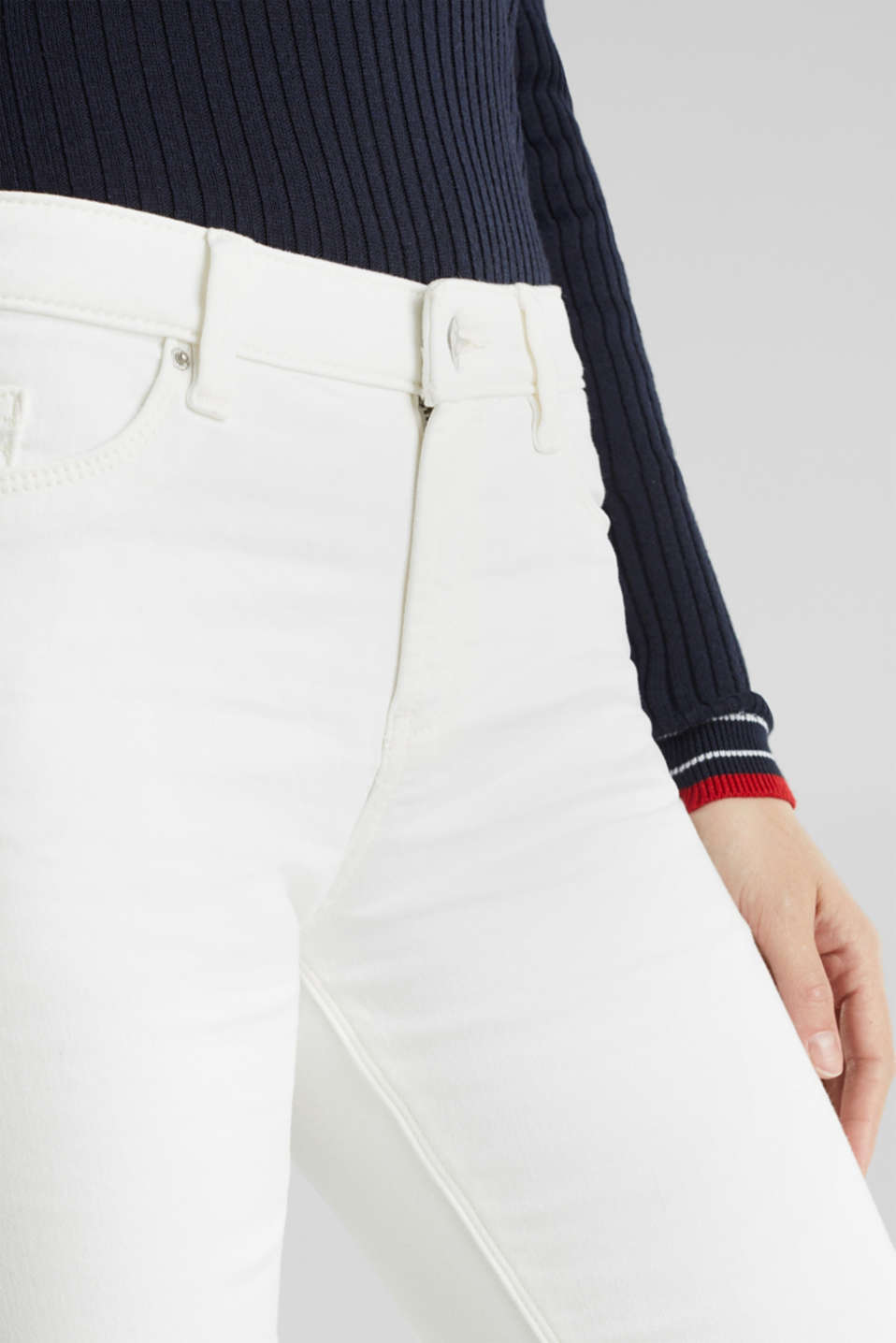 Jeans in comfy tracksuit fabric, WHITE, detail image number 2
