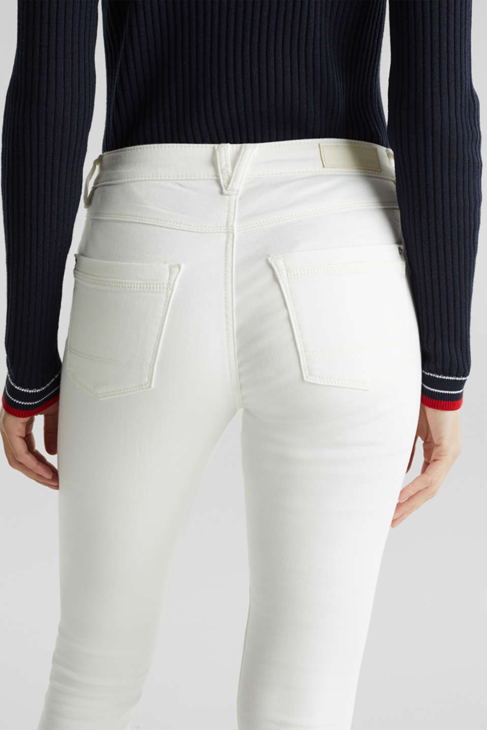 Jeans in comfy tracksuit fabric, WHITE, detail image number 5