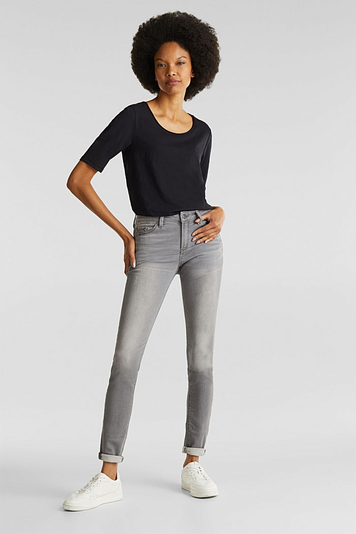 Jogger-Jeans mit Used-Effekten, GREY MEDIUM WASHED, detail image number 0