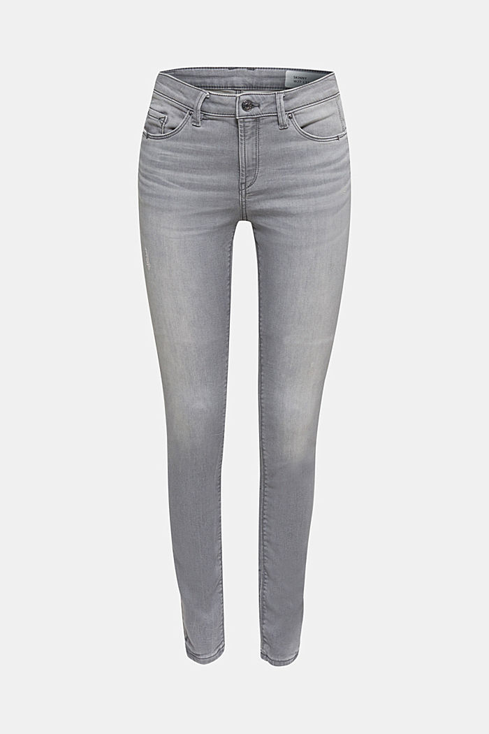 Jogger-Jeans mit Used-Effekten, GREY MEDIUM WASHED, detail image number 6