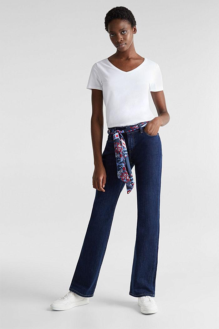 Jeans met bandana-bindceintuur, BLUE RINSE, detail image number 1