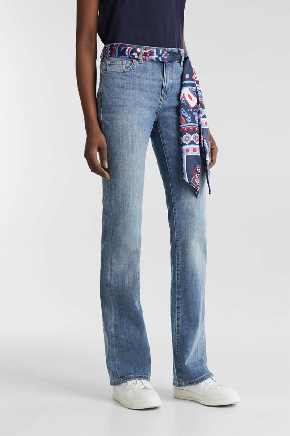 Jeans with a bandana tie-around belt, BLUE MEDIUM WASH, detail image number 6