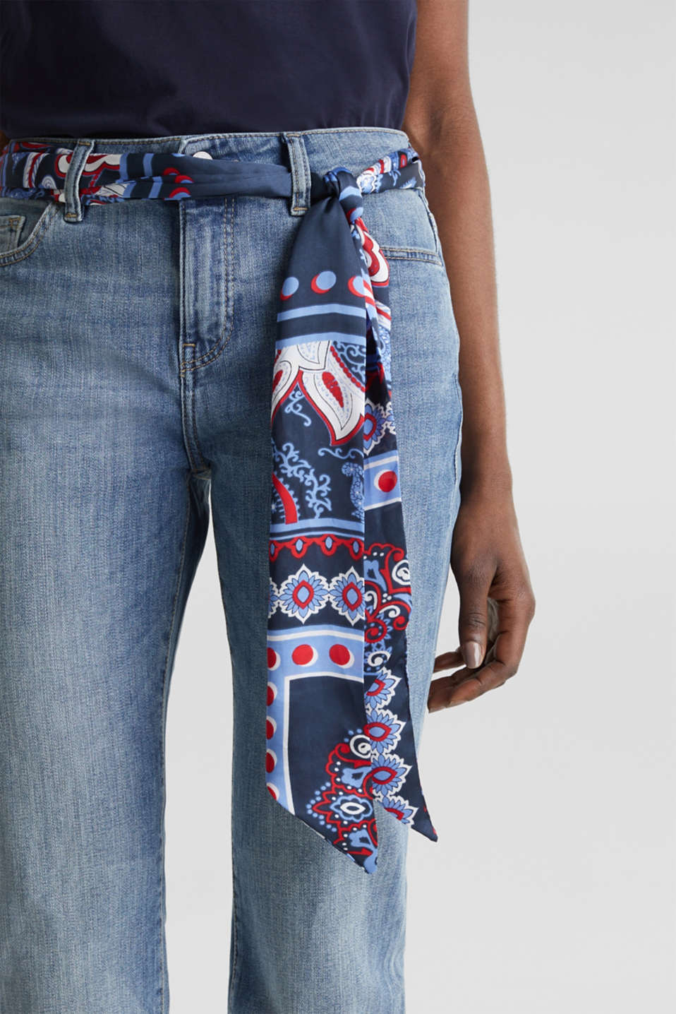 Jeans with a bandana tie-around belt, BLUE MEDIUM WASH, detail image number 2