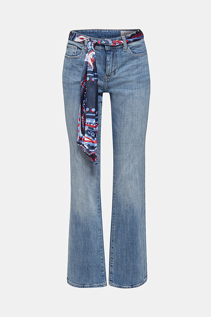 Jeans with a bandana tie-around belt, BLUE MEDIUM WASHED, detail image number 7