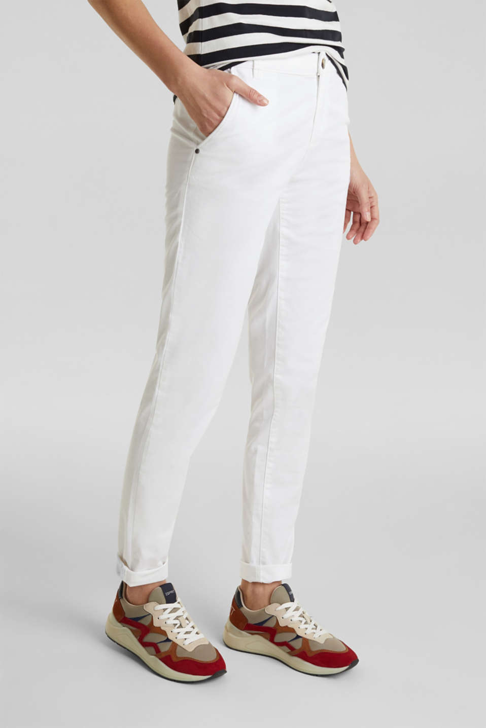 Cotton stretch chinos with Lycra xtra life™, WHITE, detail image number 0