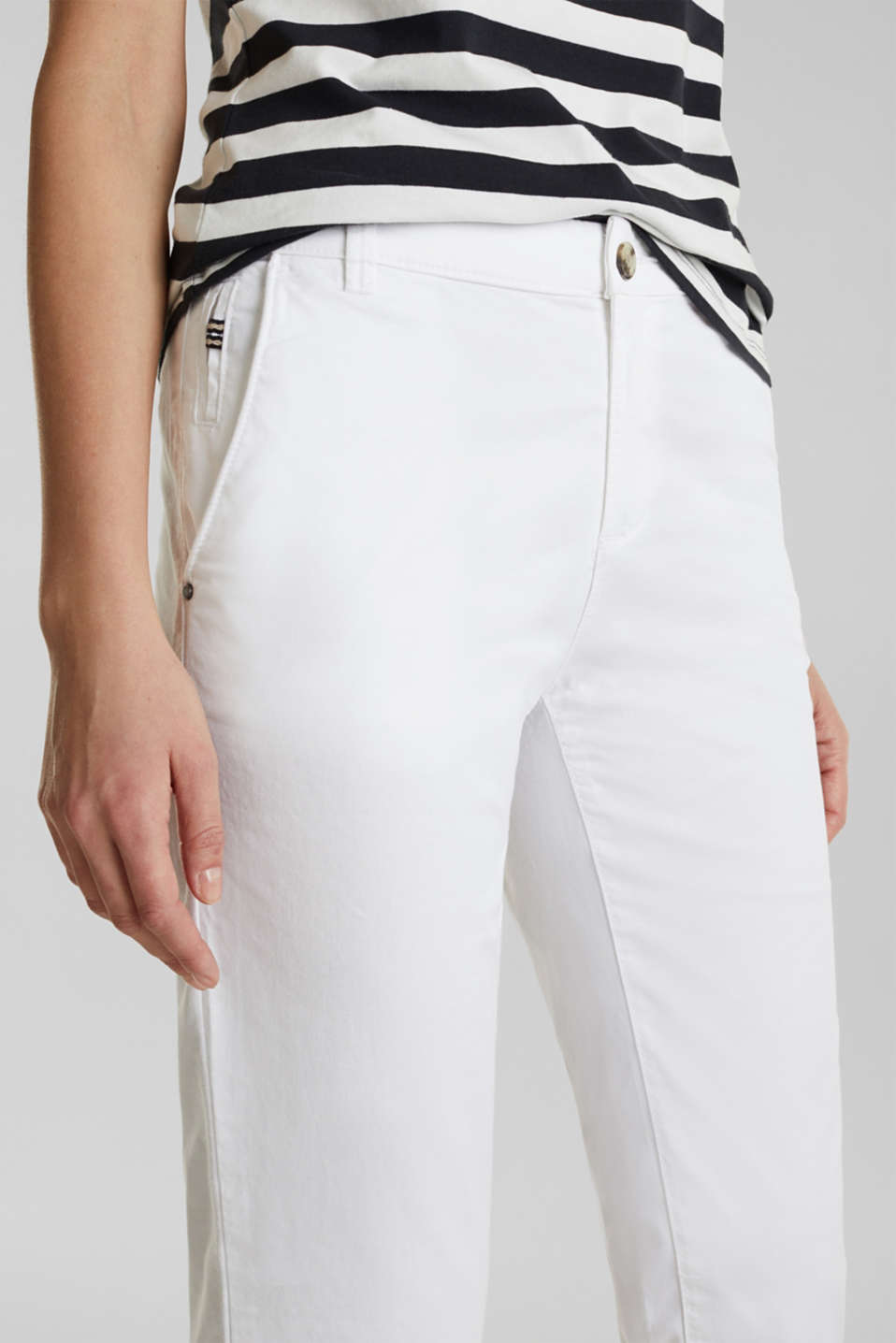 Cotton stretch chinos with Lycra xtra life™, WHITE, detail image number 2