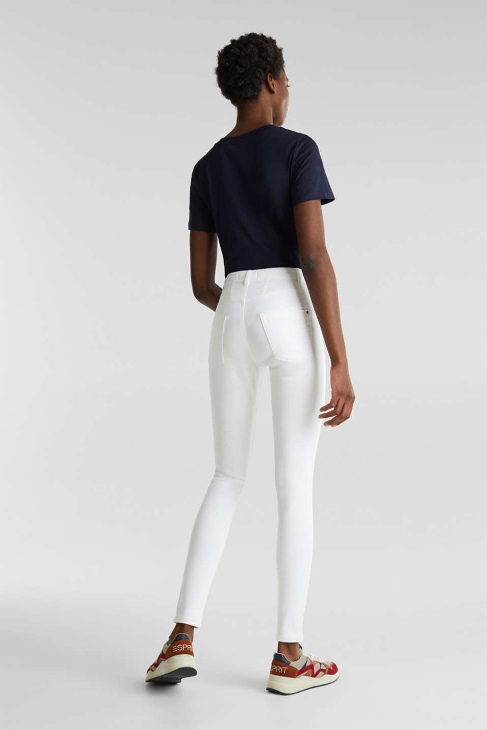 Jeans with a figure-contouring effect, WHITE, detail image number 3