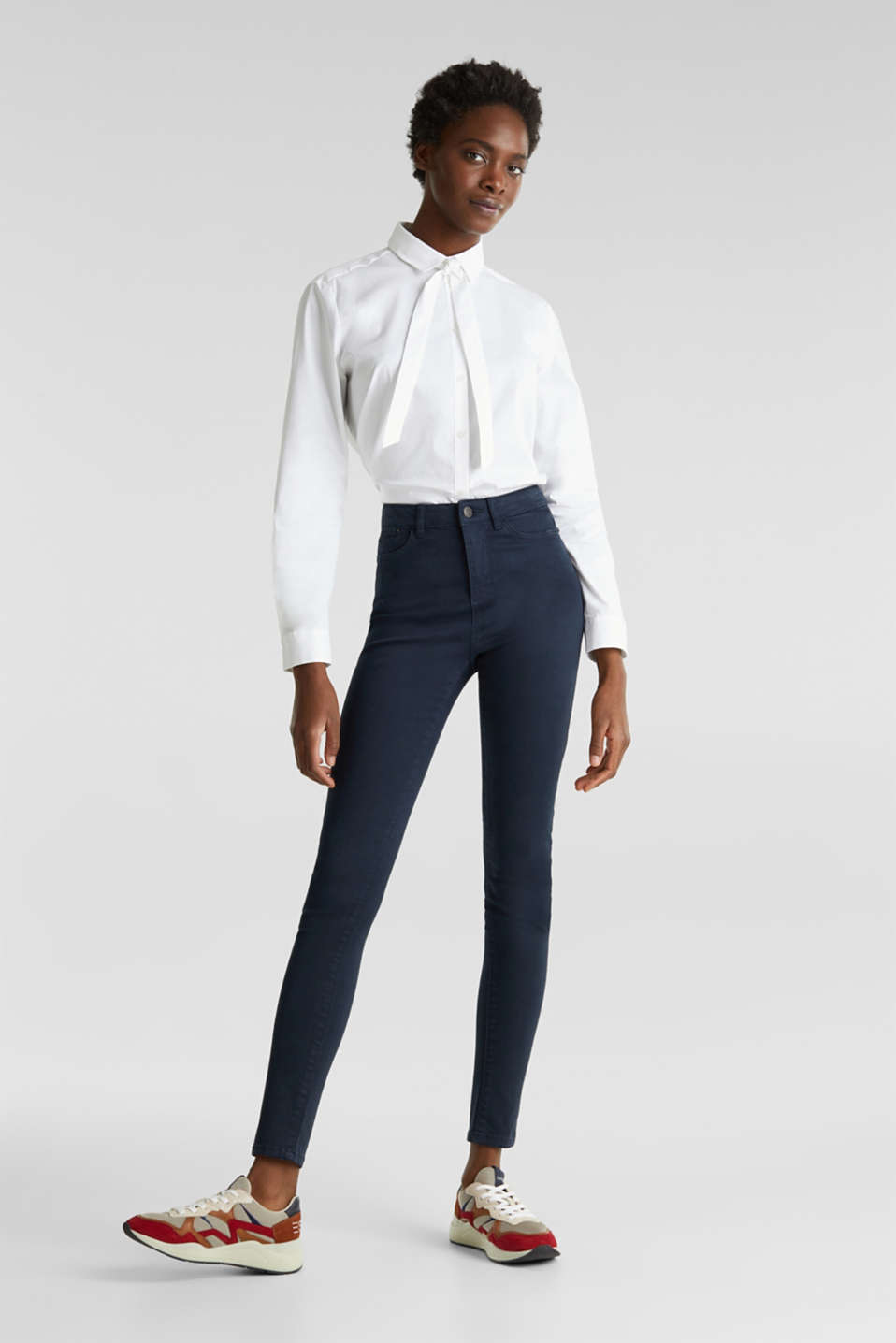 Jeans with a figure-contouring effect, NAVY, detail image number 0