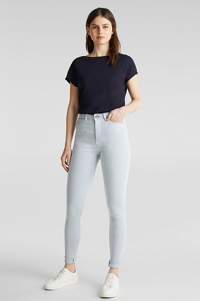 Jeans with a figure-contouring effect, LIGHT BLUE, detail image number 0