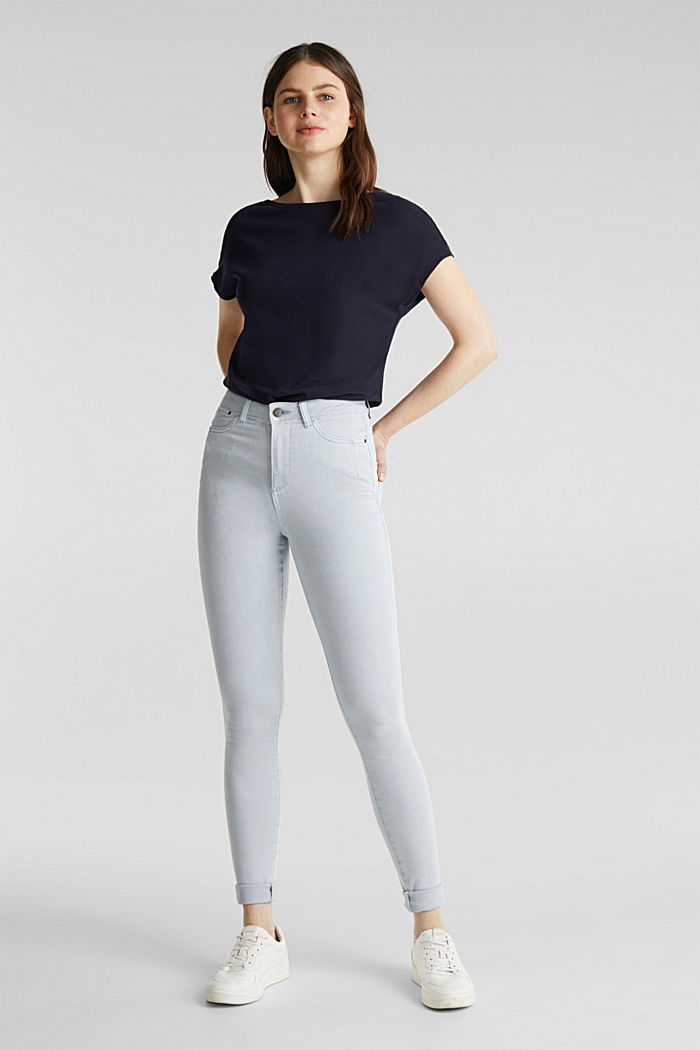 Jeans with a figure-contouring effect, LIGHT BLUE, detail image number 1