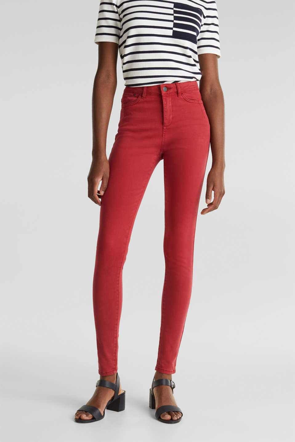 Jeans with a figure-contouring effect, DARK RED, detail image number 0