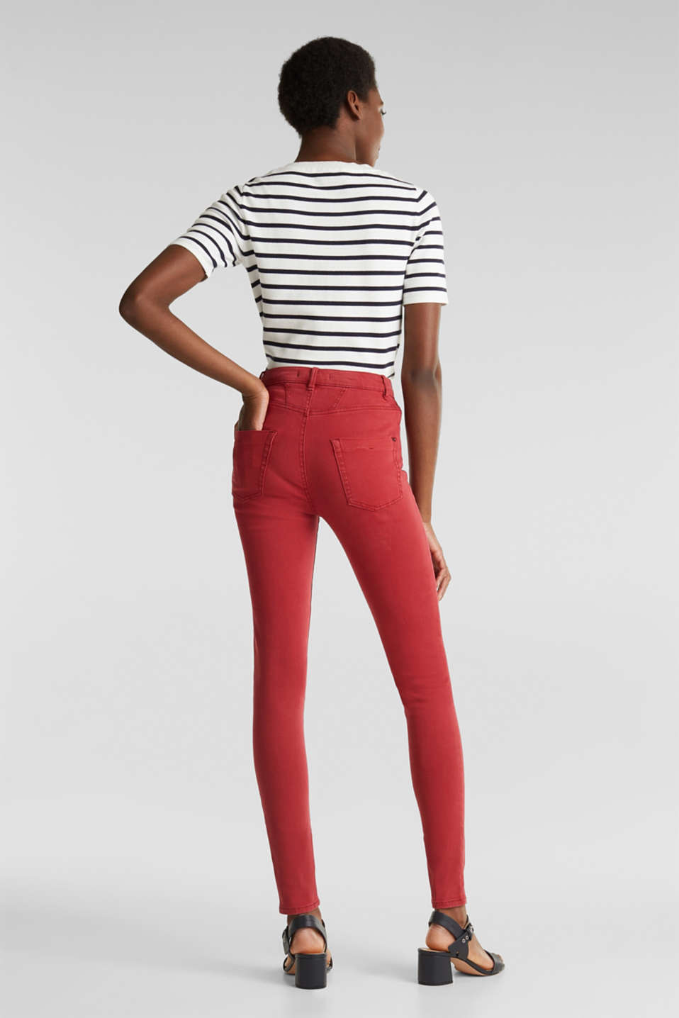 Jeans with a figure-contouring effect, DARK RED, detail image number 3