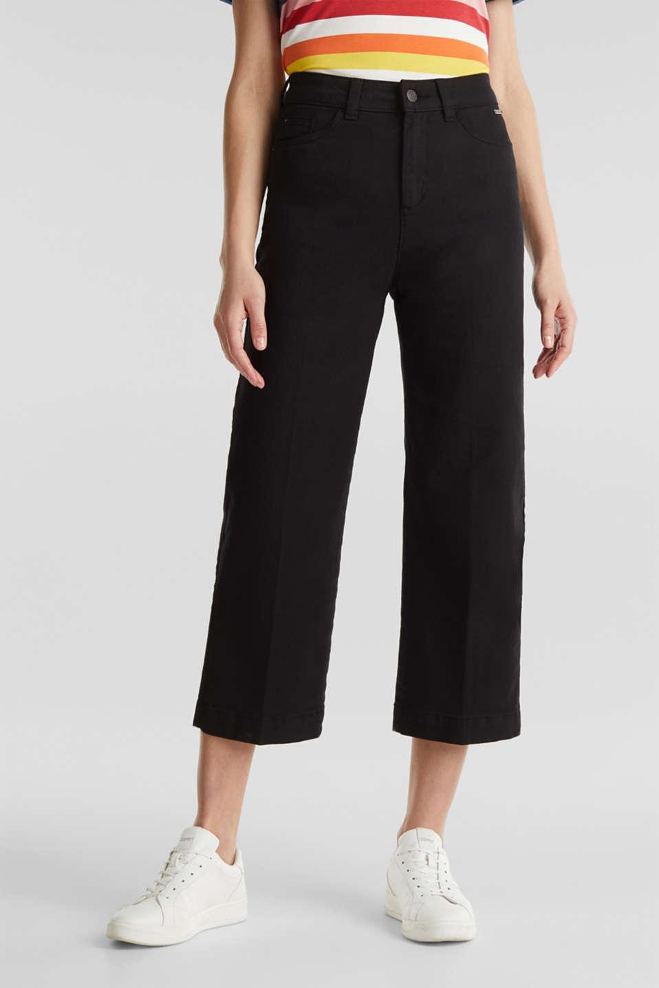 Denim culottes made of firm denim, BLACK, detail image number 0