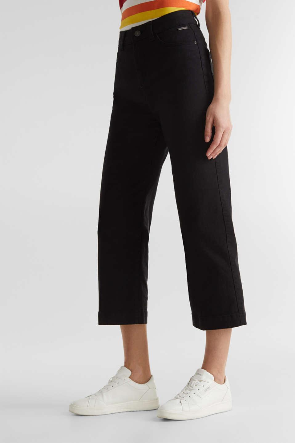 Denim culottes made of firm denim, BLACK, detail image number 6
