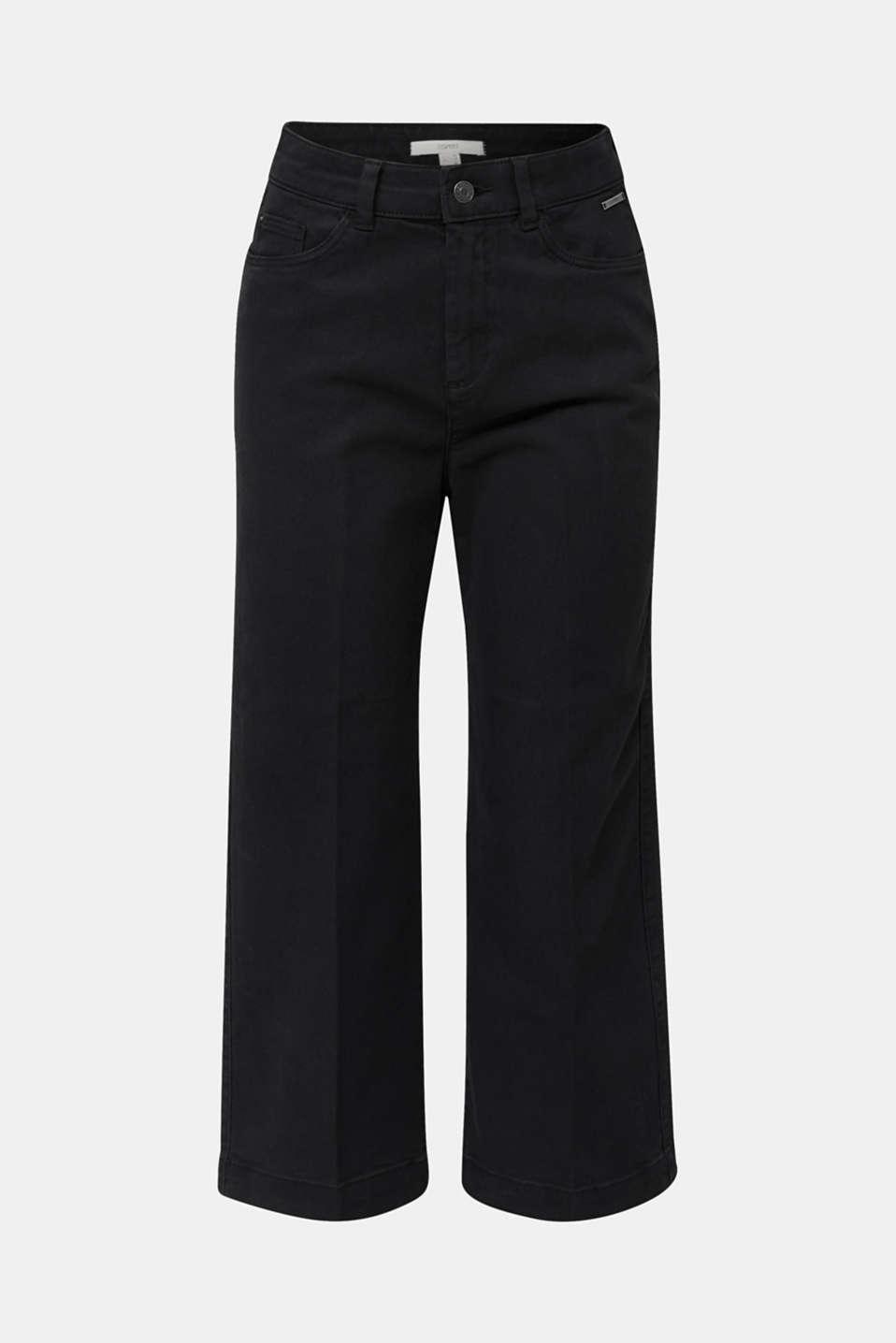 Denim culottes made of firm denim, BLACK, detail image number 7