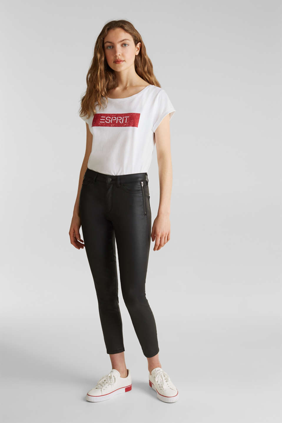 Coated ankle trousers with zips, BLACK, detail image number 1