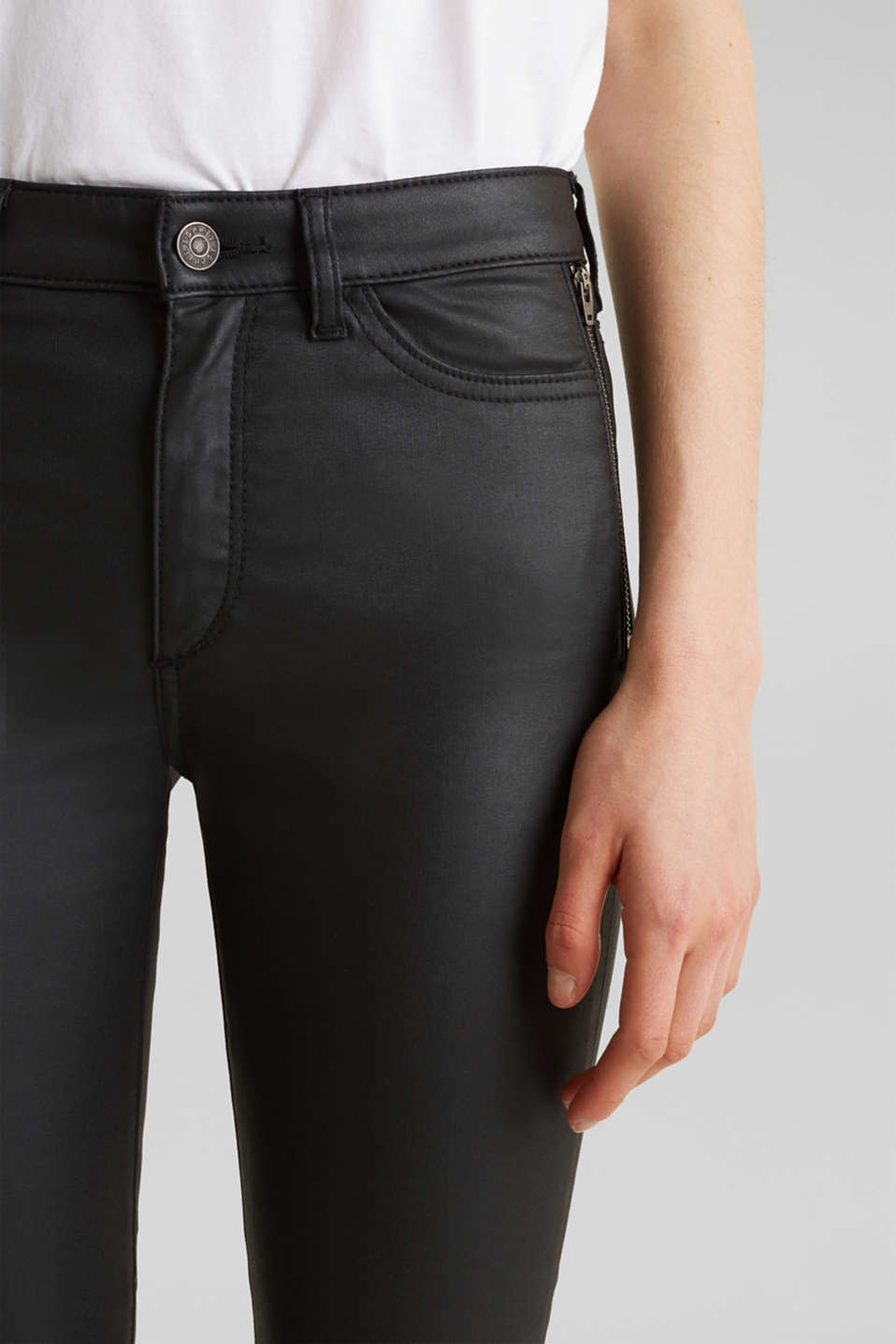 Coated ankle trousers with zips, BLACK, detail image number 2