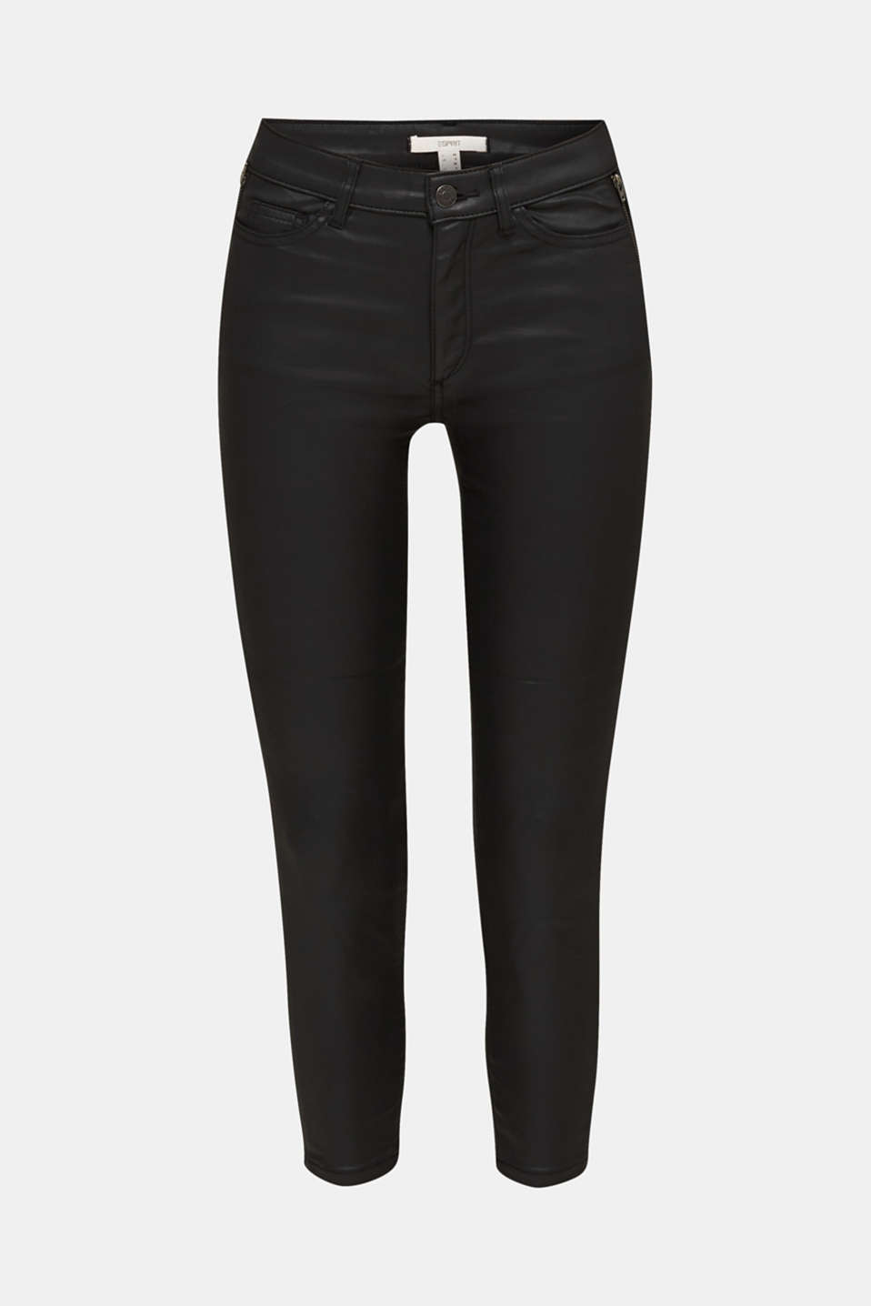 Coated ankle trousers with zips, BLACK, detail image number 6