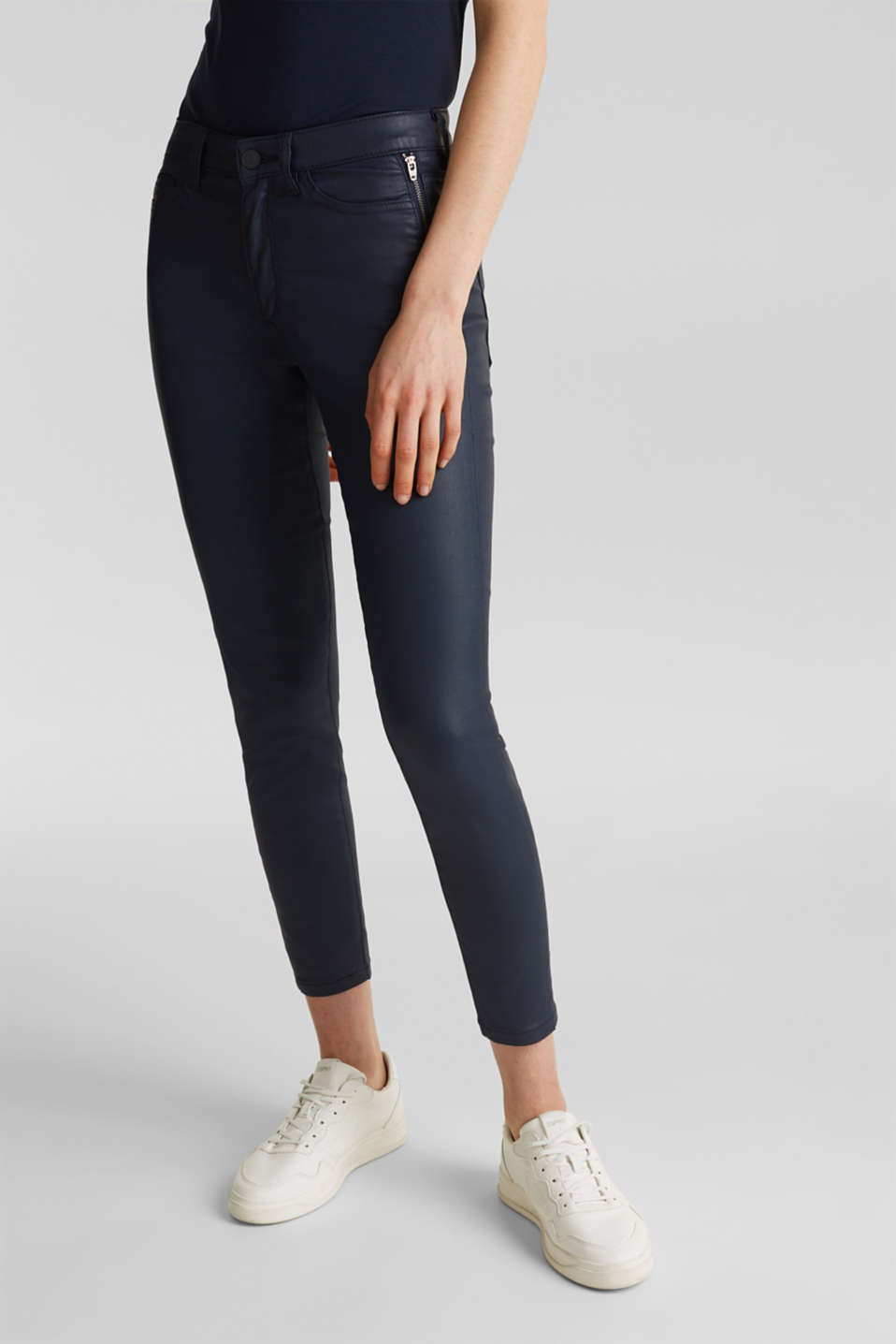 Esprit - Coated ankle trousers with zips