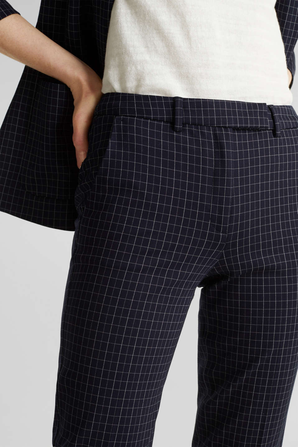 Stretch jersey chinos with grid checks, NAVY 3, detail image number 2