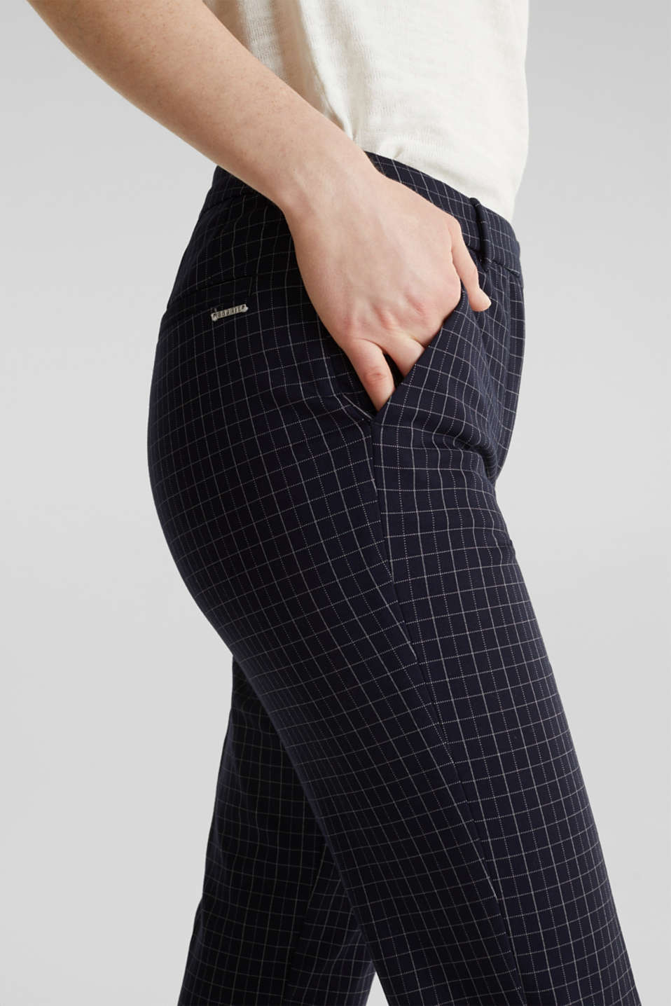 Stretch jersey chinos with grid checks, NAVY 3, detail image number 5
