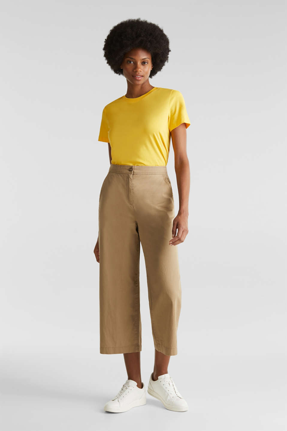 Sporty culottes, 100% cotton, BEIGE, detail image number 1