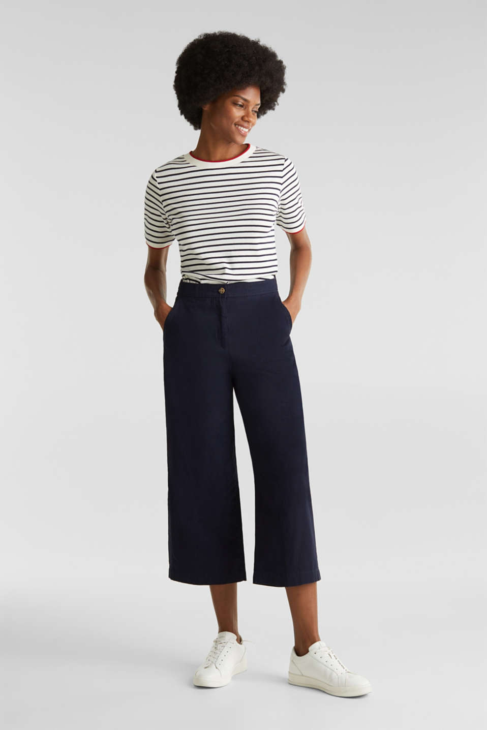 Sporty culottes, 100% cotton, NAVY, detail image number 0