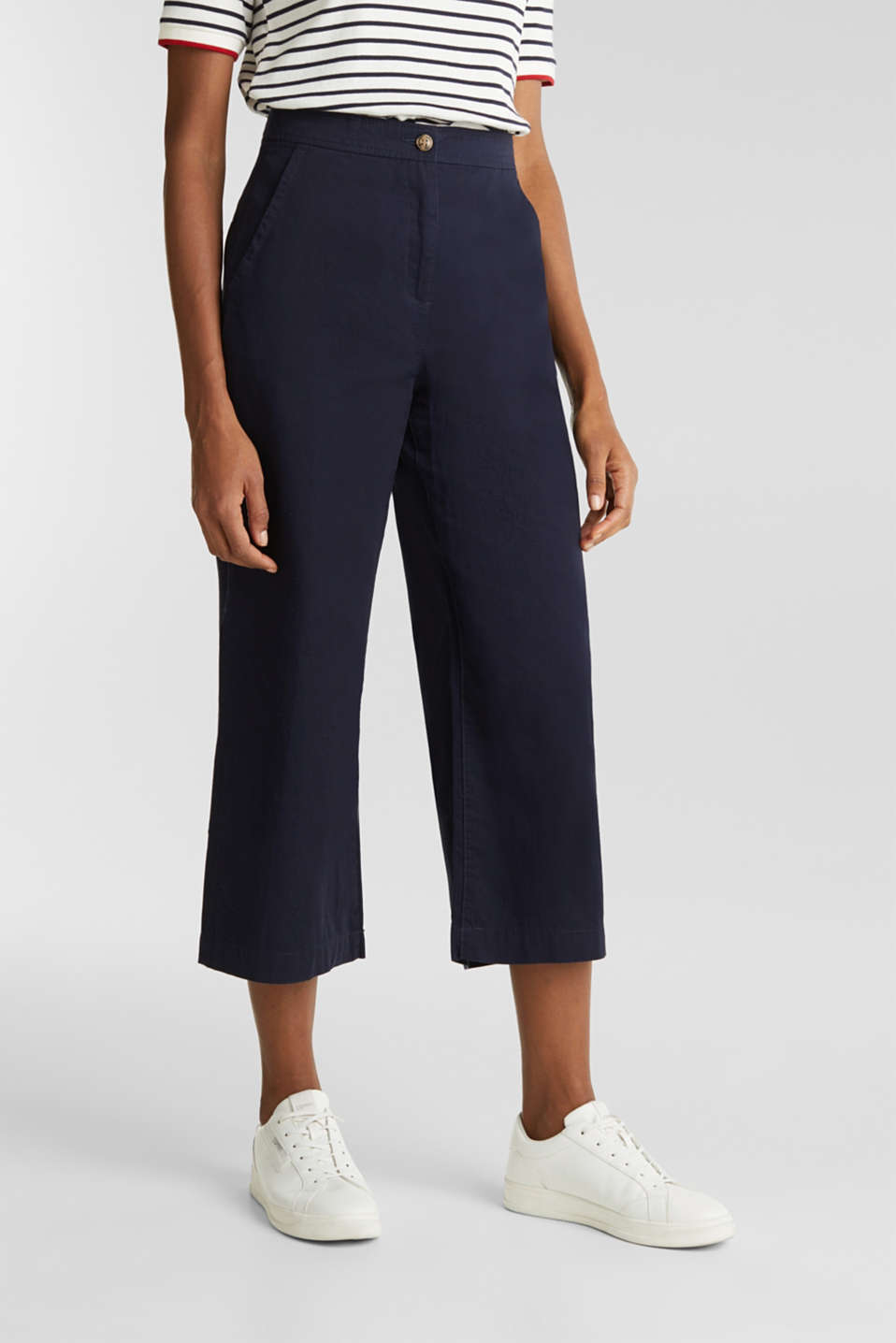 Sporty culottes, 100% cotton, NAVY, detail image number 7