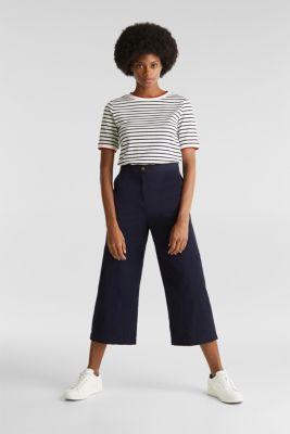 Sporty culottes, 100% cotton, NAVY, detail