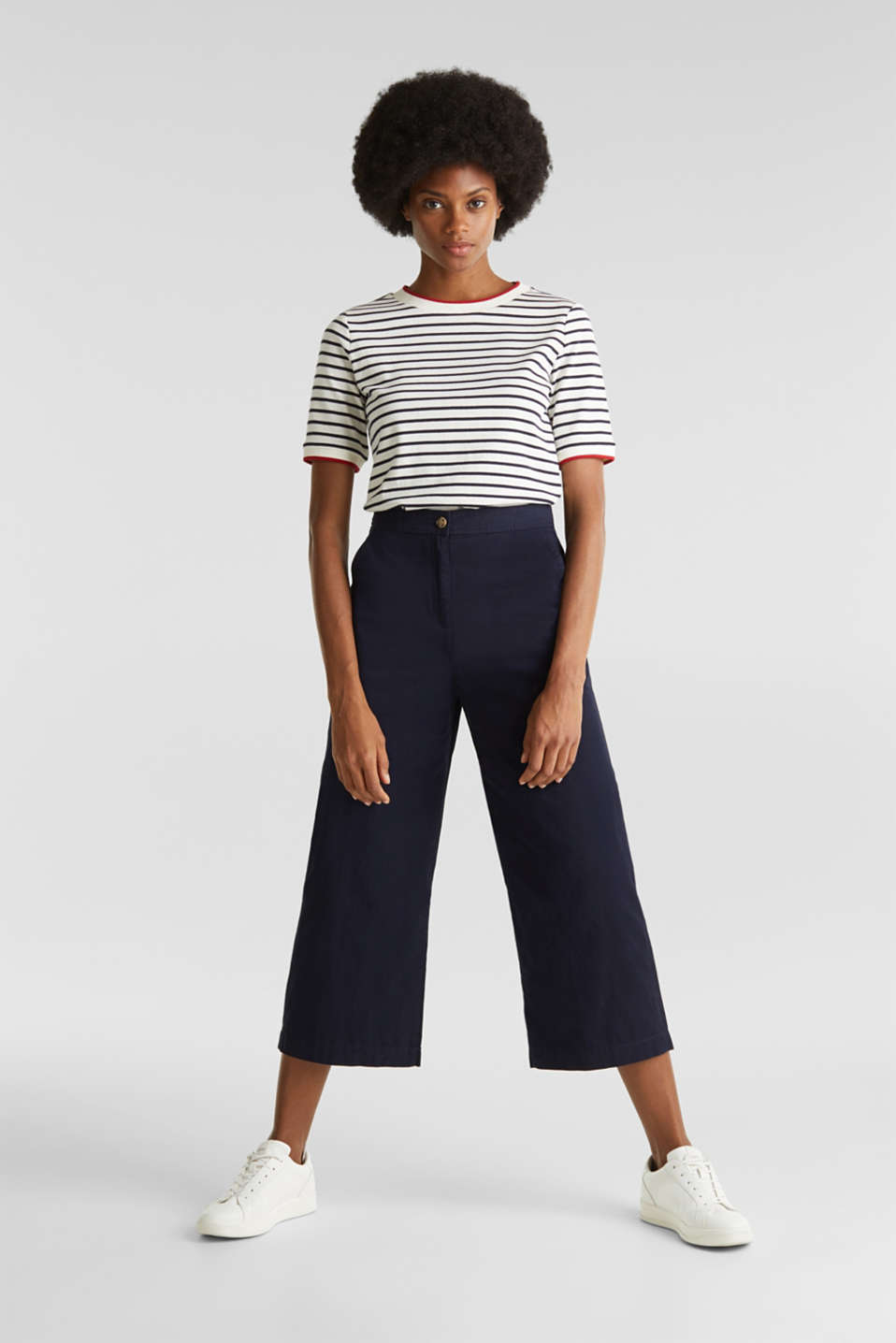 Sporty culottes, 100% cotton, NAVY, detail image number 1