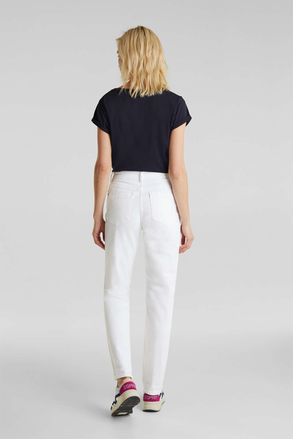 Stretch jeans with a high waistband, WHITE, detail image number 3