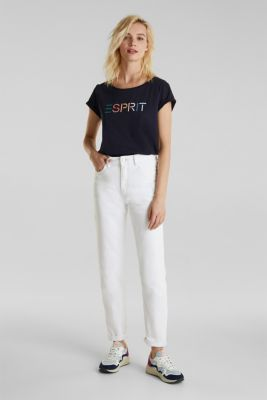 Stretch jeans with a high waistband, WHITE, detail