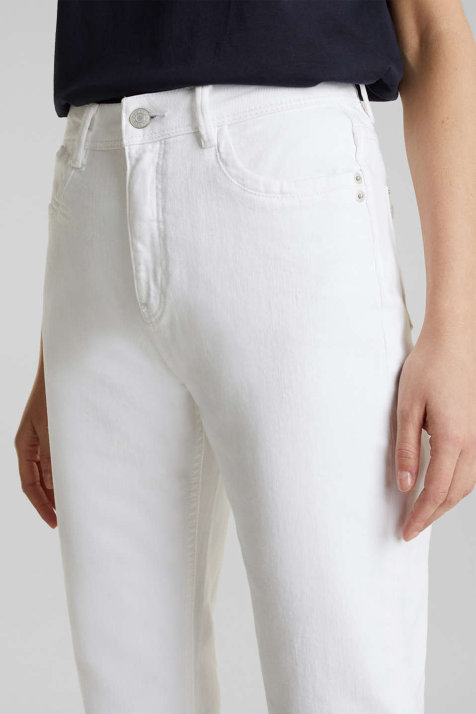 Stretch jeans with a high waistband, WHITE, detail image number 2