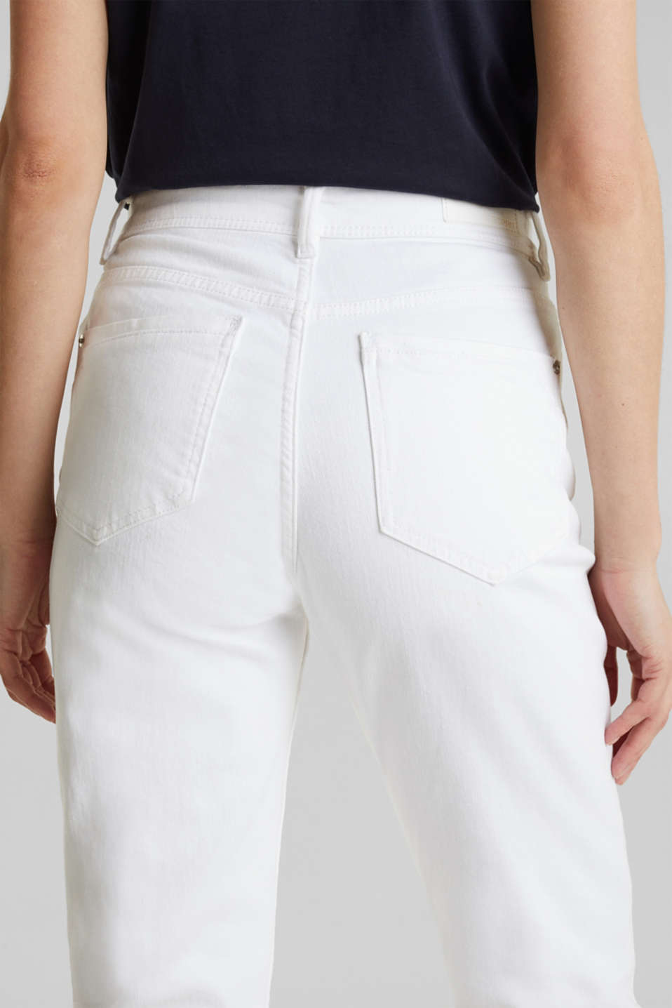Stretch jeans with a high waistband, WHITE, detail image number 5