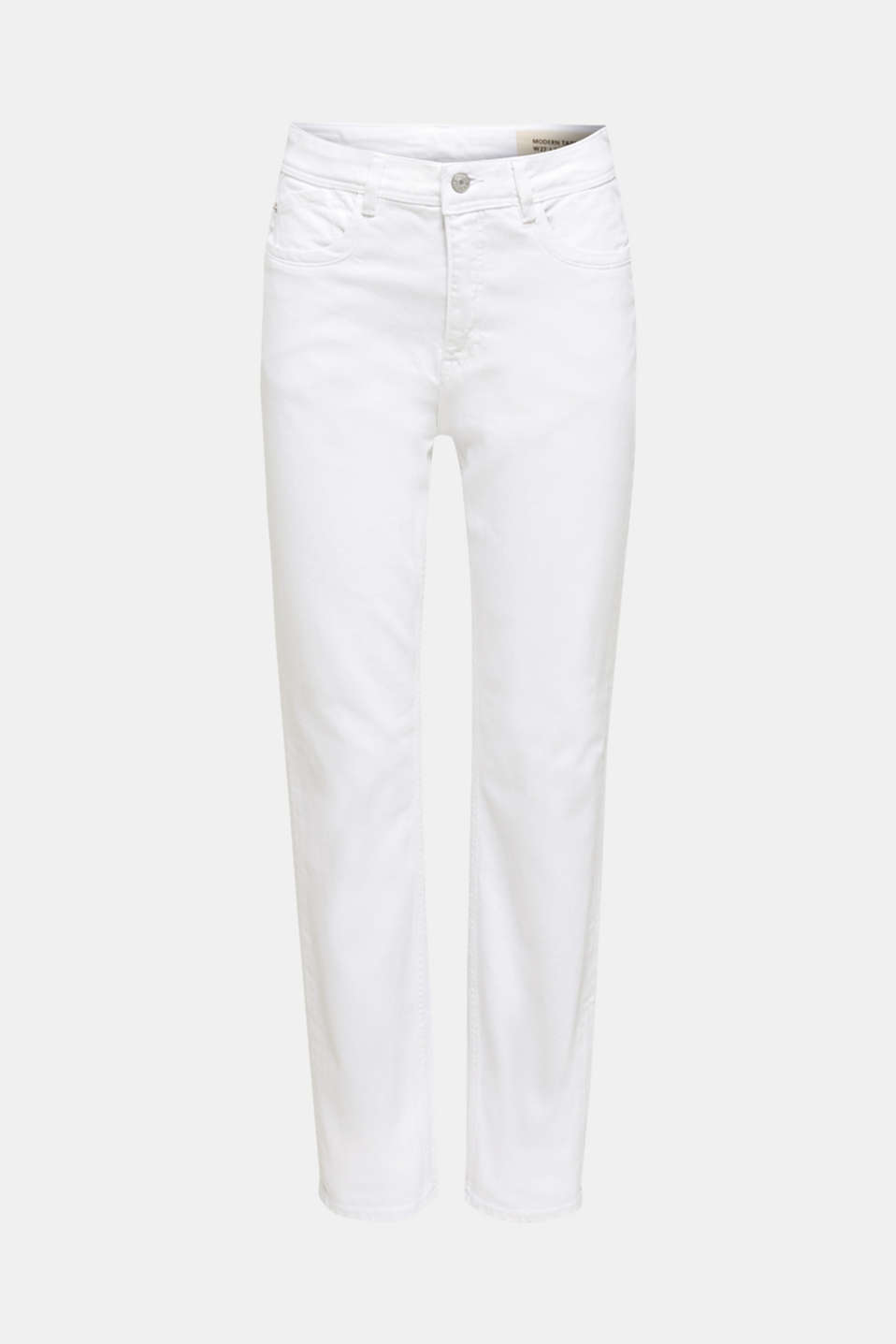 Stretch jeans with a high waistband, WHITE, detail image number 6
