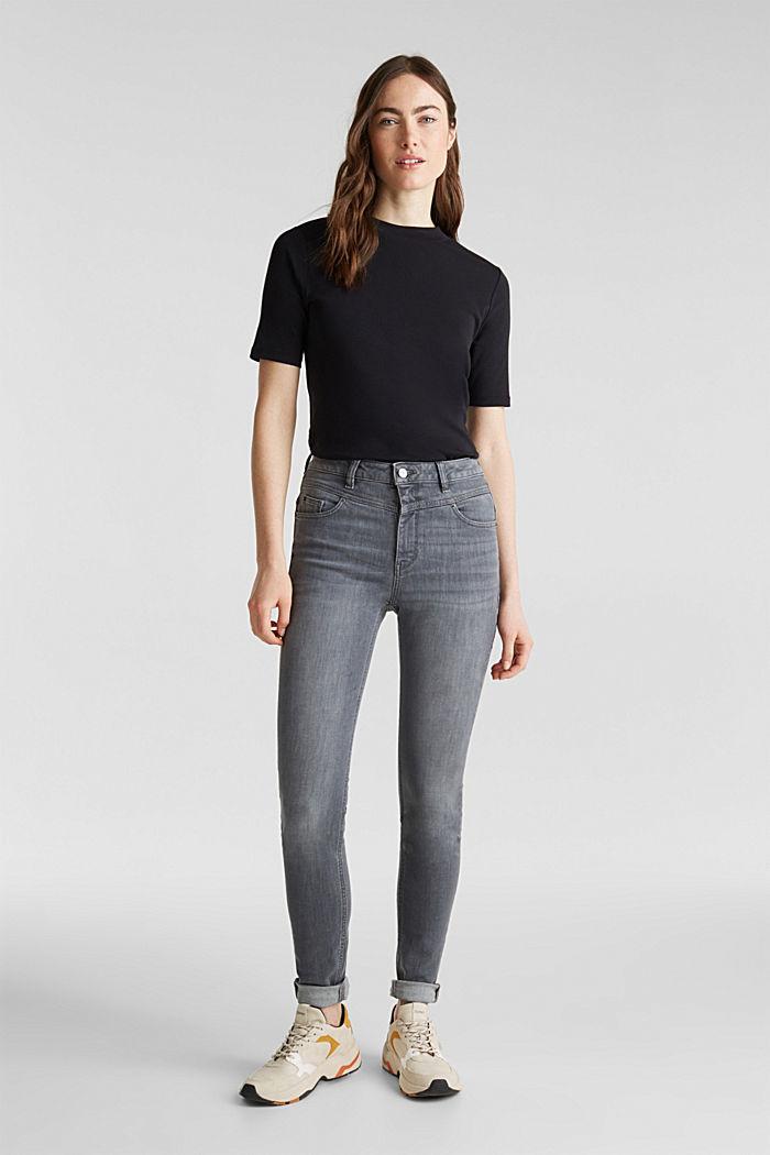 Shaping-Jeans mit High-Waist-Bund, GREY MEDIUM WASHED, detail image number 0