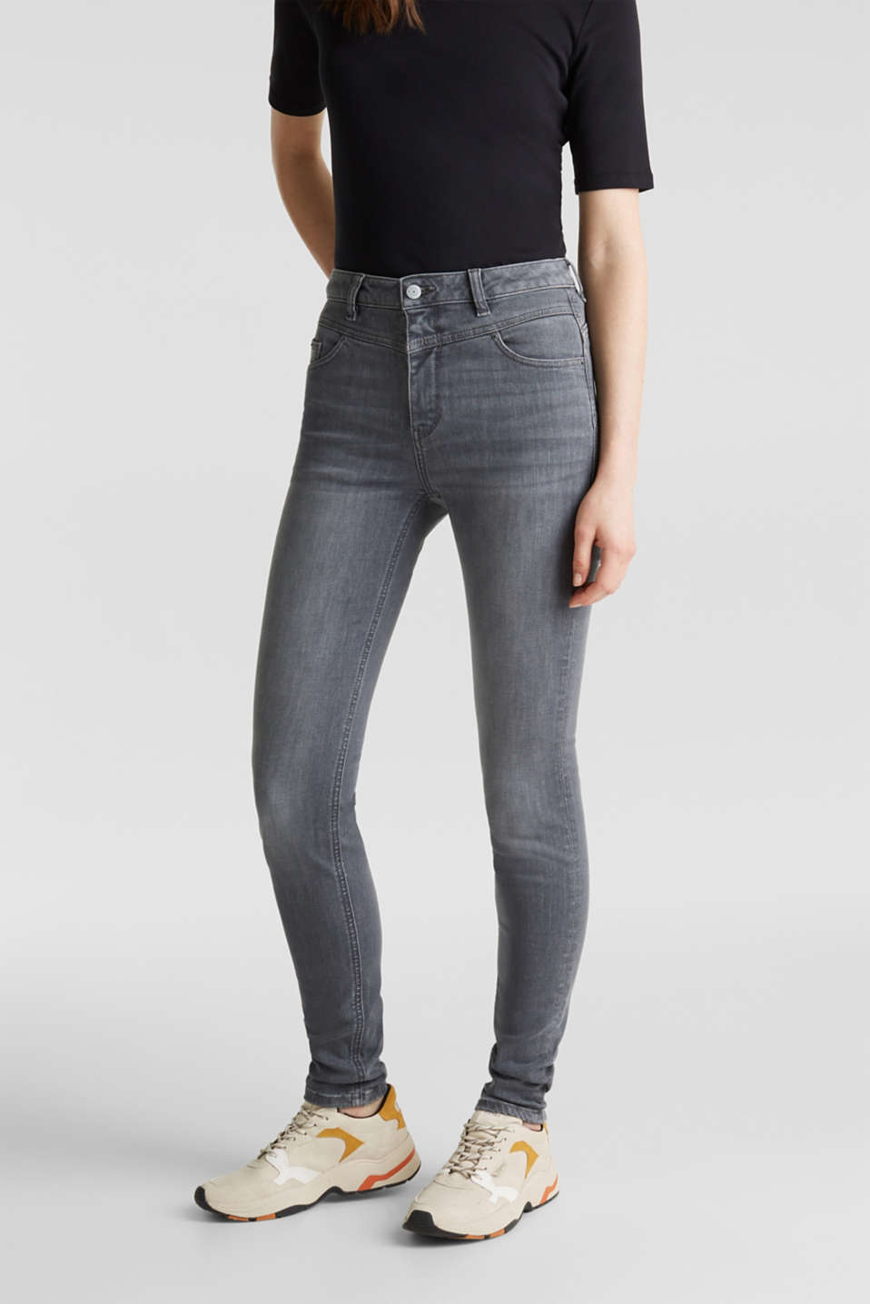 Shaping jeans with a high-waisted waistband, GREY MEDIUM WASH, detail image number 6
