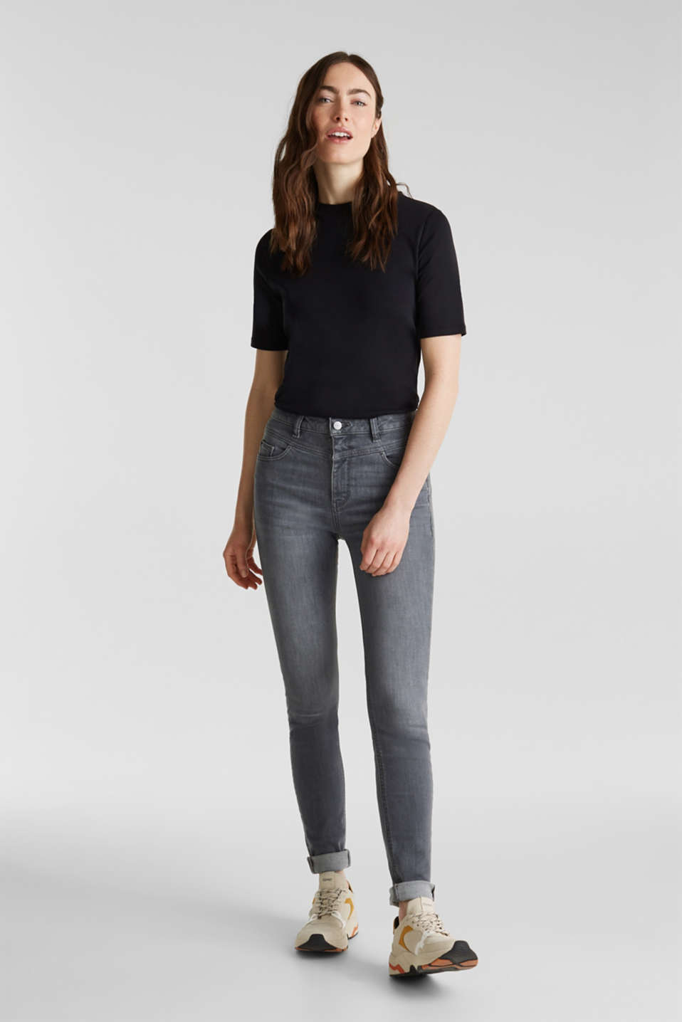 Shaping jeans with a high-waisted waistband, GREY MEDIUM WASH, detail image number 1