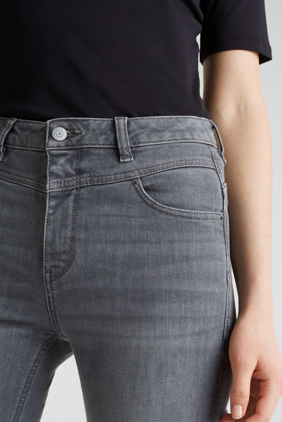 Shaping jeans with a high-waisted waistband, GREY MEDIUM WASH, detail image number 2