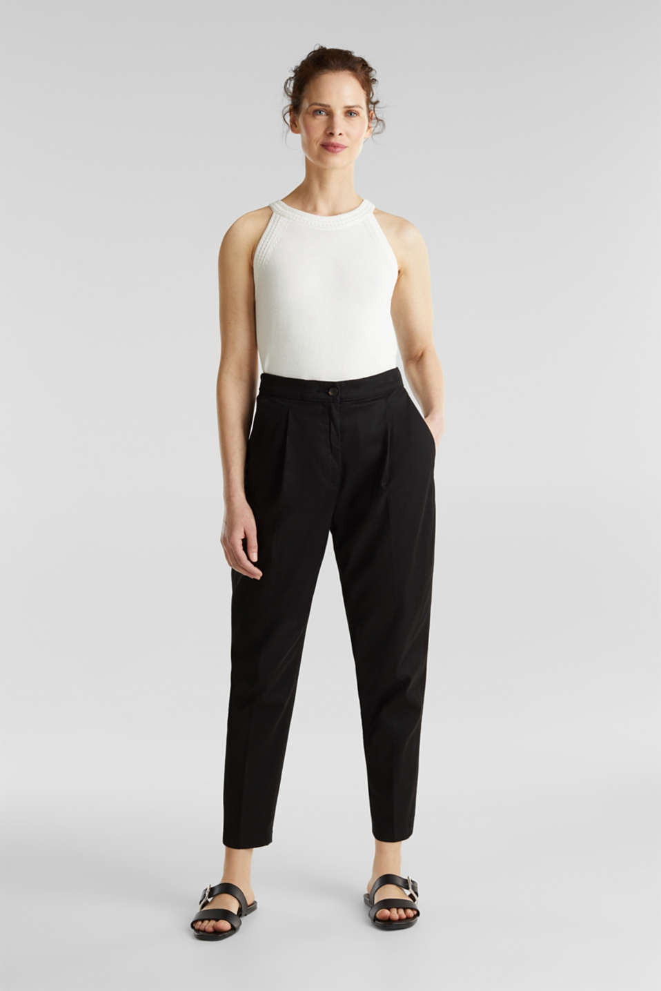 With TENCEL™: Trousers with waist pleats, BLACK, detail image number 0