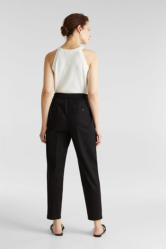 With TENCEL™: Trousers with waist pleats, BLACK, detail image number 2