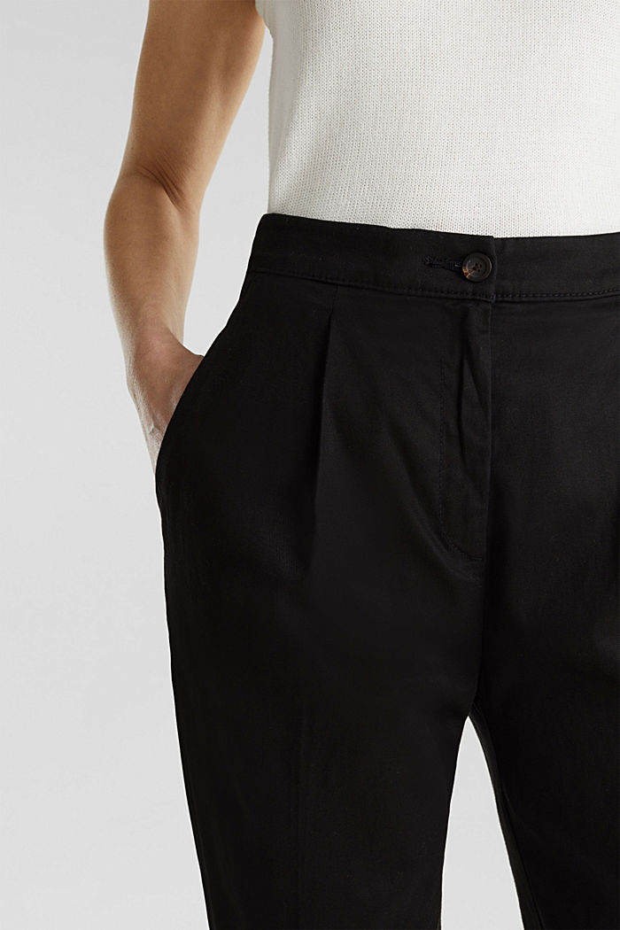 With TENCEL™: Trousers with waist pleats, BLACK, detail image number 1
