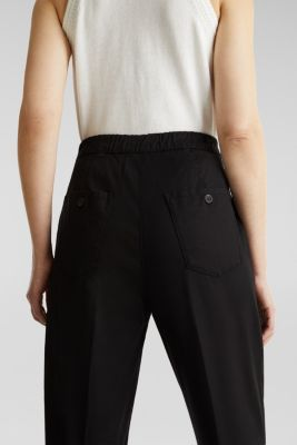 With TENCEL™: Trousers with waist pleats, BLACK, detail
