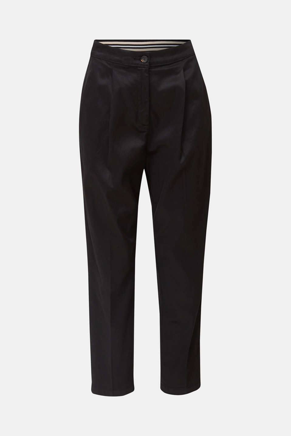 With TENCEL™: Trousers with waist pleats, BLACK, detail image number 4