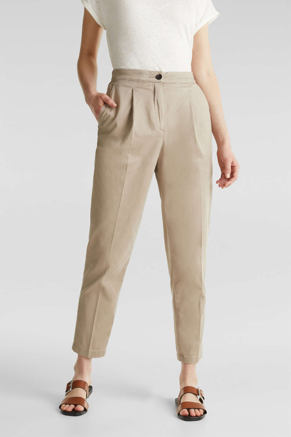 With TENCEL™: Trousers with waist pleats, BEIGE, detail image number 0