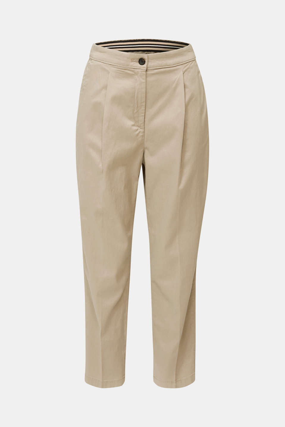 With TENCEL™: Trousers with waist pleats, BEIGE, detail image number 6
