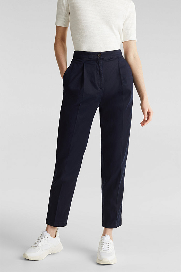 Mit TENCEL™: Pants mit Bundfalten, NAVY, detail image number 0
